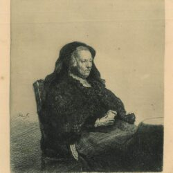 Rembrandt Etching, Bartch B.343, The artist's mother seated at a table, looking right: three-quarter length