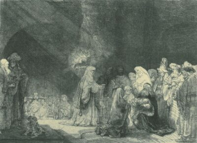 Rembrandt Etching, Bartch B. 49, Simeon's hymn of praise [The presentation in the Temple: oblong print]