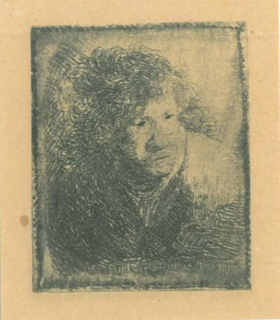 Rembrandt Etching, Bartch b. 9, Self portrait, leaning forward, listening