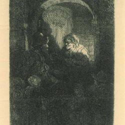Rembrandt, Etching, Bartsch B. 128, Woman at a door hatch talking to a man and children ['The Schoolmaster']