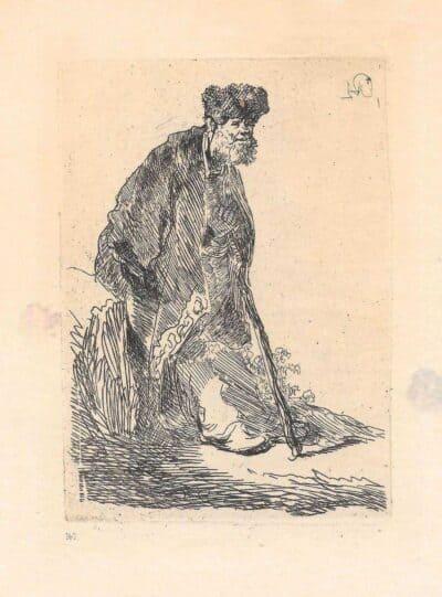 Rembrandt, Bartsch B. 151, Staande man met een lange mantel en bontmuts, leunend tegen een heuveltje