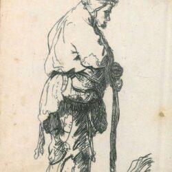 Rembrandt Etching, Bartsch B. 163, Beggar leaning on a stick, New Hollstein 46, copy a II