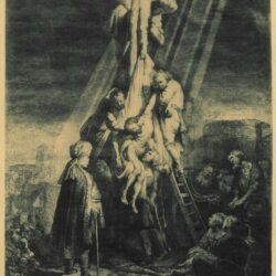Rembrandt etching, Bartsch B. 81, The descent from the cross: the second plate