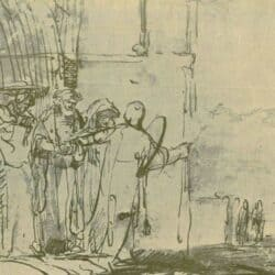 Rembrandt, drawing, Lot and the two angels (Genesis 19:1-23)