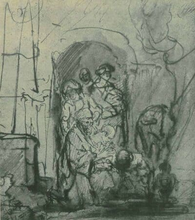 drawing after rembrandt, The Archangel Raphael Leaving Tobias' Family