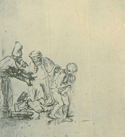 Rembrandt tekening, Susanna en de ouderlingen