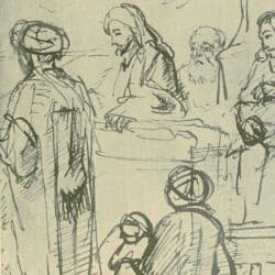 Rembrandt drawing, Nicolaes Maes, Christus predikend