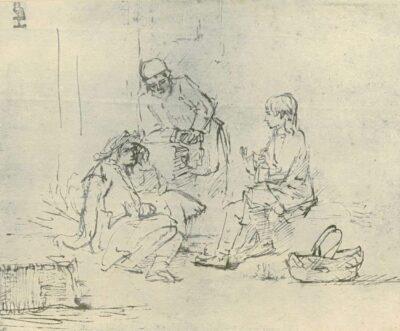 Rembrandt drawing, Joseph in Prison Interpreting the Dreams of Pharaoh's Butler and Baker (Genesis 40)