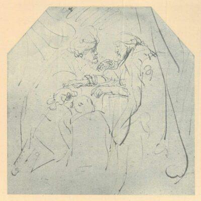 Rembrandt tekening, Jacob zegent Efraïm en Manasse, de zonen van Jozef (Genesis 48:13-20)
