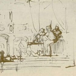Rembrandt, Drawing, Banquet of Esther, Ahasuerus and Haman,