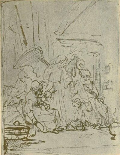 Rembrandt, Drawing, The Archangel Raphael in the House of Tobit,